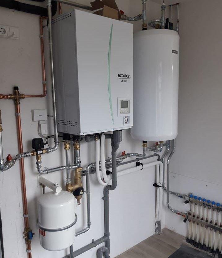 Warmtepomp met groot warm water vat